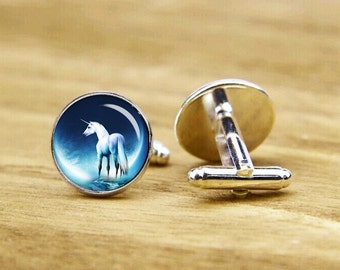 unicorn cufflinks, good luck cufflinks, custom personalized cufflinks, round glass cuff links, square cufflinks, tie clip or a matching set