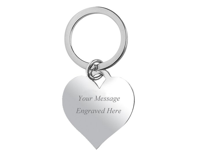Personalised Silver Plated Heart Tag Keyring - Engraved Name Initials Message