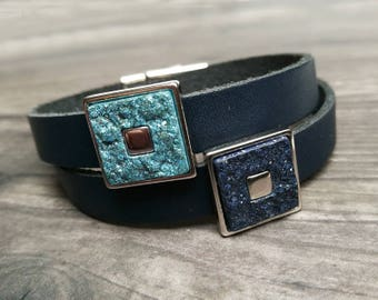 Blue leather bracelet, minimalist wrap bracelet for women, druzy-style sliders, magnetic clasp, gift for her,  genuine leather