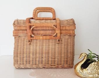 Fab picnic style cane basket ~ boho ecelectic rustic decor ~ vintage nursery decor
