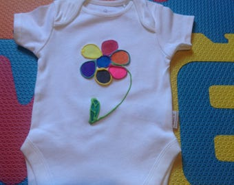Baby Vest Hand painted 0-3/3-6/6-9/9-12 month Flower