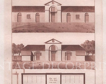 Antique Architecture Print, Farm Yard Stabling by John Plaw 1795, Sepia Aquatint, Rural Architecture of Farm Yard Buildings