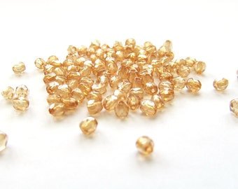 Transparent Champagne Faceted Czech Glass Beads with Luster Finish, 3mm - 100 pieces