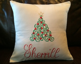 Christmas, Christmas Tree Personalized Cotton Twill Pillow
