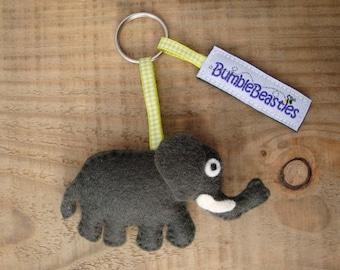 Elephant Wool Felt Charm Keyring