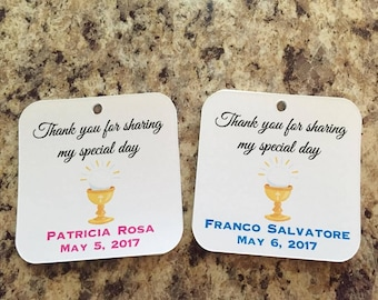 First Holy Communion Favor Tags, Communion favor tags,Religious tags,Host/Chalice Favor tags (RTAG-08)