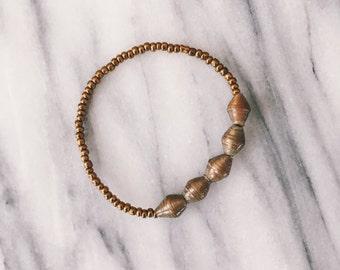 Gold Five Bead Bracelet