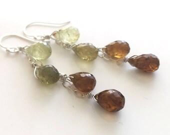 Garnet Dangle earrings, Glorious Garnet Cascade 4 Drop Earrings , OOAK One Available