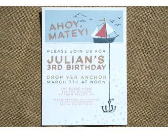 Boat and Anchor Birthday Party Invitation - Childrens Birthday Invite - Anchor and Sail Boat - Pirate Ship - Ahoy Matey - Kids Birthday
