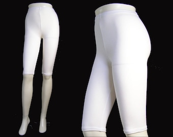 Cotton Spandex Lycra Nylon High Waist Stretch Knee Pants White Bermuda Shorts Japanese Casual Leggings Women Clothing 綿5分丈