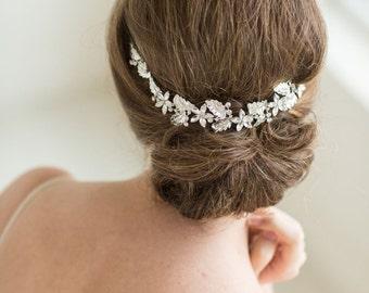 Crystal Vine Headpiece, Wedding Headband, Bridal Rhinestone Headband, Ribbon Headband