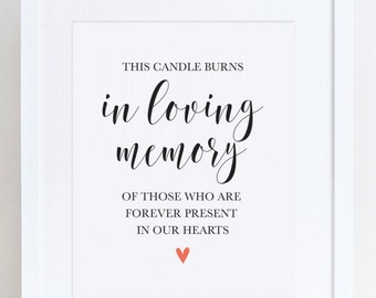 In Loving Memory - 8x10 Wedding Sign Printable - This Candle Burns - Instant Download!