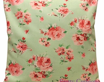 Pretty Vintage Rose Mint Green & Pink Cushion Cover