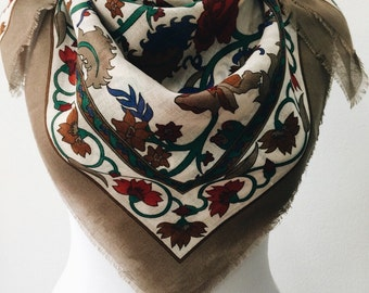 Square Scarf, Vintage scarf, Flowers Scarf, Square Shawl, Gift For Her