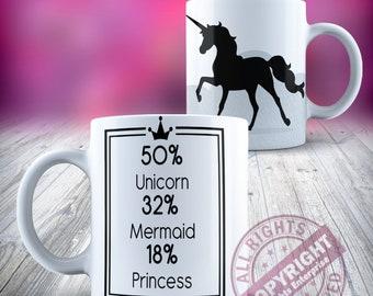 Licorne 50 pour cent Licorne pour cent 32 pour cent 18 sirène princesse noir en céramique 11oz tasse à café thé de notre gamme de tasse en céramique