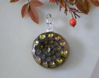 Pendant, Pendant Bead, Glass Blown Honeycomb Pendant, Borosilicate Pendant, Necklace, Lampwork Pendant, Borosilicate Boro