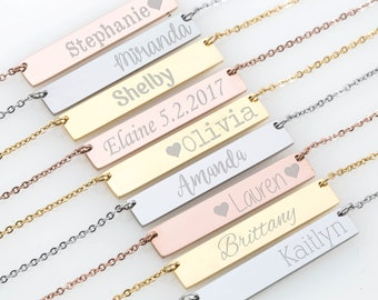 Bridesmaid Gift Set of 6 Personalized Bar Necklaces Jewelry Bar Necklace Customized Name Necklace Engraved Coordinates Bridesmaids Gifts