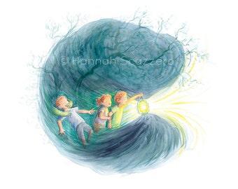 Children's Watercolor Illustration: Nighttime Adventure
