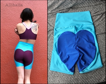 L Aqua // Blue Big Heart Bike Shorts size Large 10 12 14
