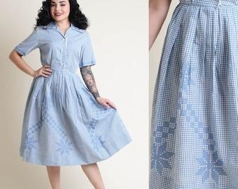 SALE SALE SALE vintage 50s Gingham rockabilly Cross Stitch dress S M / garden party day tea shirtwaist dress 1950s small medium