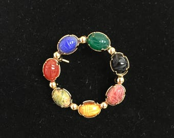 Vintage, Winard Signed, Egyptian Revival Scarab Brooch, 12K GF, Semi-Precious Stones, 1960s