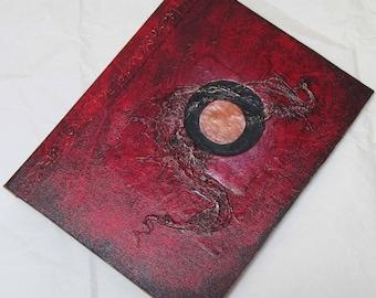 Handmade Journal Refillable Eclipse red copper 9x7 Original traveller notebook fauxdori