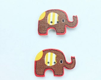 Brown Elephant Button - Craft Scrapbooking Buttons, Embellihment, Craft Supplies, Notions, Wood Buttons - Shankless Button - Nursery Button