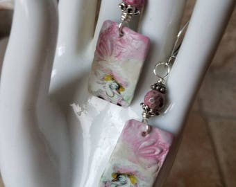 Swan song swan earring with pink fire opal