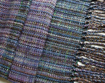 "Handwoven Hand-dyed Wrap/Shawl with Twisted Fringe,  Deep Woods - 79""x15.5"""