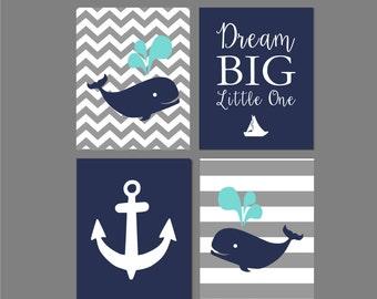 "Whale Nursery, Whale Nursery Decor, Nautical Nursery, Whale Art, Dream Big Little One, Nautical Nursery Art, Nautical Printable 8""x10""s"