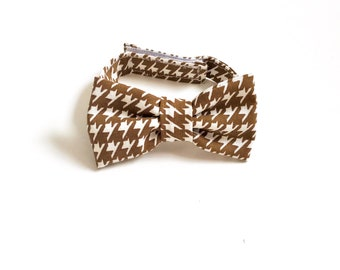 Brown Houndstooth Bow Tie ~ Baby Bow tie ~Brown and white bow ~ Daddy and me bow tie~ wedding bow tie - coffee bow tie