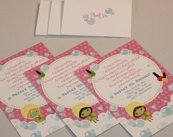 Custom Spa Birthday Party Invitations and Thank You Notes