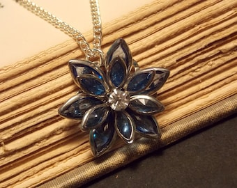 Deep Blue Stained Glass Lotus Flower Necklace