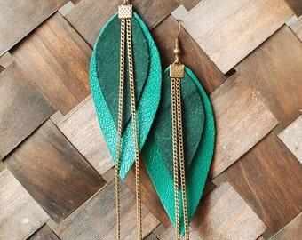 Long Leather Earrings- Leather Earrings- Dangle Earrings- Recycled Earrings- Boho Chic Earrings- Layered Earrings- Green Earrings