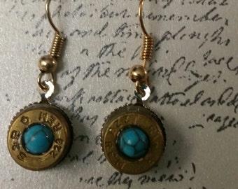 Bullet Earrings, Unique Earrings, Turquoise Earrings,Shooters Earrings, Brass Earrings, Upcycled Earrings, Hunters Earrings, Gun Jewelry