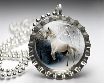 Fantasy Unicorn Jewelry Bottlecap Pendant Necklace - Free Ball Chain