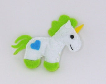 Unicorn Felt Fridge Magnet Green Handsewn (Kitchen Decoration)