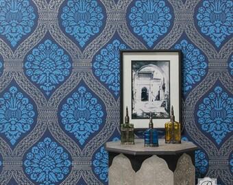 Large Bohemian Damask Trellis Wall Stencil - Painting Custom DIY Wall Decor with Boho Glam Wallpaper Design