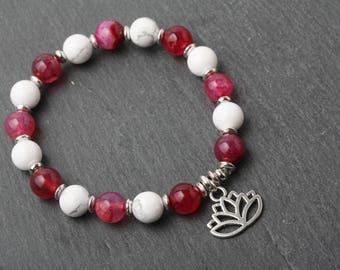Bracelet fleur de lotus, quartz , bracelet de yoga, bracelet de méditation, Bracelet en pierre quartz, bracelet zen, cadeau pour elle