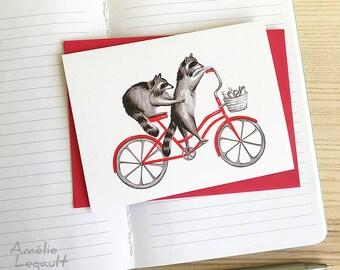 Raccoons on bike, cycling raccoons, raccoon card, birthday card
