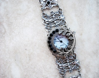 Women watches gothic jewelry gothic watch Silver bracelet watch bracelet small face watch Silver filigree wrist watch bracelet