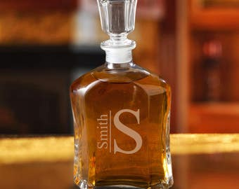 Monogrammed Glass Whiskey Decanter