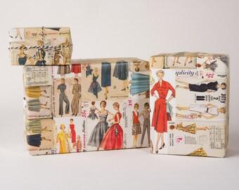 Retro Dress Patterns / Gift Wrap / 12 Sheets