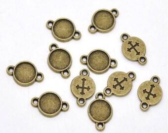 Bronze 10 connectors round cabochon 16 x 10 mm