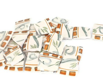 Broken China Mosaic Tiles - Green Swirls - Recycled Plates - Brown Trim - 20 Large Pieces