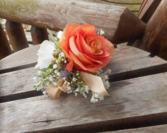 Coral Rose Wrist Corsage and Boutonniere Combination / Wedding Corsage and Boutonniere / Prom Corsage and Boutonniere / Coral Prom Flowers