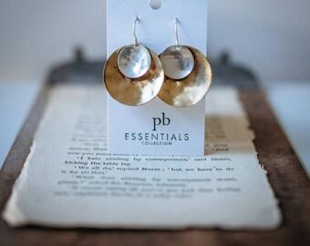 SILVER & BRASS STATEMENT Earrings, Ruby Earrings, Statement earrings, pommier-benoit, essentials collection, Bohemian, mixed metal earrings