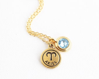 Mother Gift - Zodiac Jewelry - Birthday Month - Personalized Zodiac Necklace With Birthstone Charm - Astrology Pendant - Horoscope Necklace