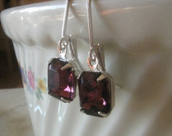 amethyst vintage glass dangle earrings