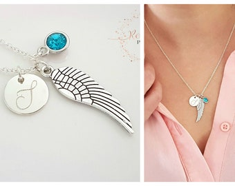 Memorial Personalized Necklace - Birthstone Necklace -  Initial - Angel Wing - Memory Necklace - Custom Jewelry - Disc Necklace -Mother Gift